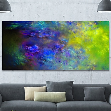 DesignArt 'Blue Green Starry Fractal Sky' Graphic Art on Wrapped Canvas; 28'' H x 60'' W x 1.5'' D
