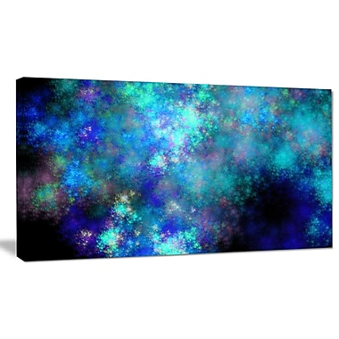 DesignArt 'Light Blue Starry Fractal Sky' Graphic Art on Wrapped Canvas; 16'' H x 32'' W x 1'' D