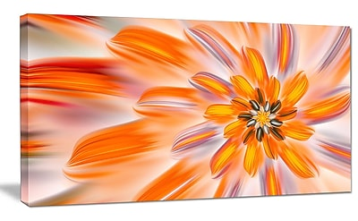 DesignArt 'Dance of Fractal Yellow Petals' Graphic Art on Wrapped Canvas; 12'' H x 20'' W x 1'' D