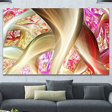 DesignArt 'Golden Red Fractal Plant Stems' Graphic Art on Wrapped Canvas; 40'' H x 60'' W x 1.5'' D
