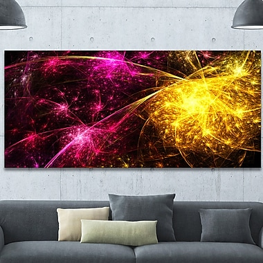 DesignArt 'Yellow Pink Colorful Fireworks' Graphic Art on Wrapped Canvas; 28'' H x 60'' W x 1.5'' D