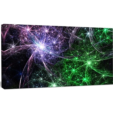 DesignArt 'Green Purple Colorful Fireworks' Graphic Art on Wrapped Canvas; 16'' H x 32'' W x 1'' D