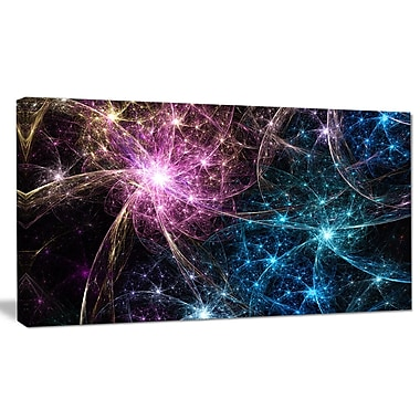 DesignArt 'Blue Pink Colorful Fireworks' Graphic Art on Wrapped Canvas; 20'' H x 40'' W x 1'' D
