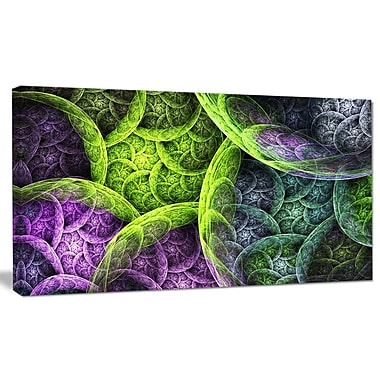 DesignArt 'Green Pink Colorful Clouds' Graphic Art on Wrapped Canvas; 16'' H x 32'' W x 1'' D