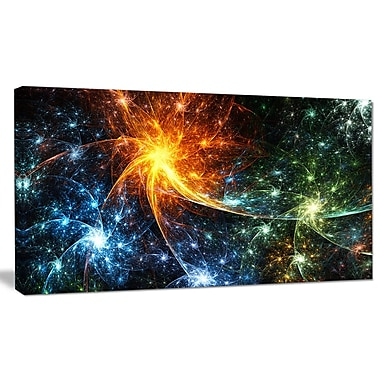 DesignArt 'Colorful Fireworks w/ Stars' Graphic Art on Wrapped Canvas; 12'' H x 20'' W x 1'' D