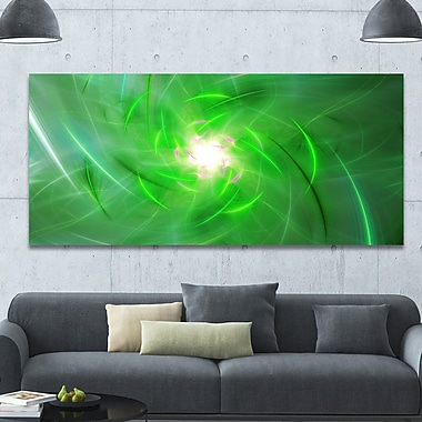 DesignArt 'Light Green Fractal Whirlpool' Graphic Art on Wrapped Canvas; 28'' H x 60'' W x 1.5'' D