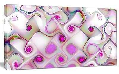 DesignArt 'Pink Fractal w/ Swirls' Graphic Art on Wrapped Canvas; 20'' H x 40'' W x 1'' D