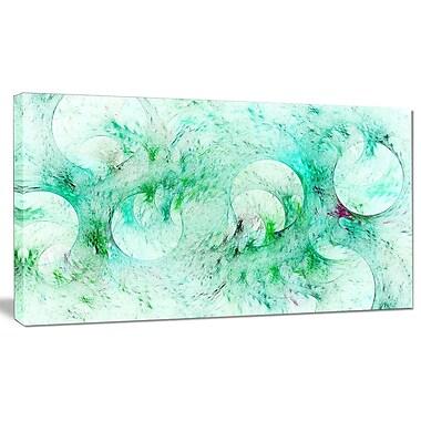 DesignArt 'Green Circles Fractal Texture' Graphic Art on Wrapped Canvas; 16'' H x 32'' W x 1'' D