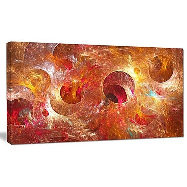 DesignArt 'Red Yellow Circles Texture' Graphic Art on Wrapped Canvas; 16'' H x 32'' W x 1'' D