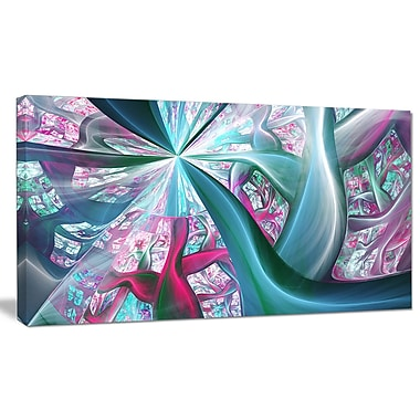 DesignArt 'Blue Pink Fractal Plant Stems' Graphic Art on Wrapped Canvas; 20'' H x 40'' W x 1'' D