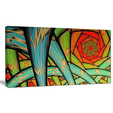 DesignArt 'Green Fractal Endless Tunnel' Graphic Art on Wrapped Canvas; 20'' H x 40'' W x 1'' D