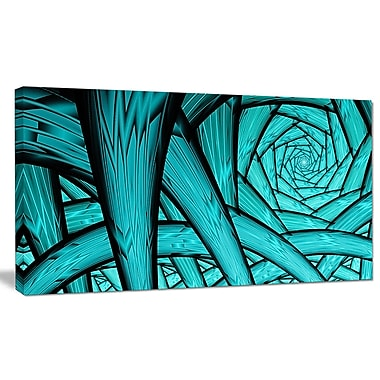 DesignArt 'Turquoise Fractal Endless Tunnel' Graphic Art on Wrapped Canvas; 20'' H x 40'' W x 1'' D