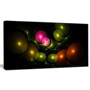 DesignArt 'Multi-Color 3D Surreal Circles' Graphic Art on Wrapped Canvas; 16'' H x 32'' W x 1'' D