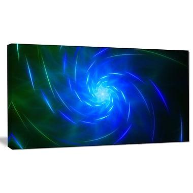 DesignArt 'Blue Fractal Whirlpool Design' Graphic Art on Wrapped Canvas; 12'' H x 20'' W x 1'' D