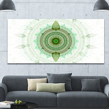 DesignArt 'Light Green Cryptical Sphere' Graphic Art on Wrapped Canvas; 28'' H x 60'' W x 1.5'' D