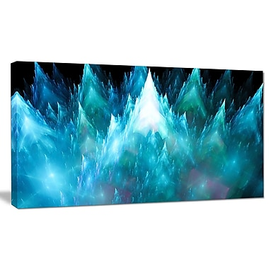 DesignArt 'Blue Fractal Crystals Design' Graphic Art on Wrapped Canvas; 12'' H x 20'' W x 1'' D