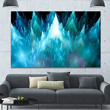 DesignArt 'Blue Fractal Crystals Design' Graphic Art on Wrapped Canvas; 40'' H x 60'' W x 1.5'' D