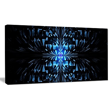DesignArt 'Blue Butterfly Pattern on Black' Graphic Art on Wrapped Canvas; 12'' H x 20'' W x 1'' D