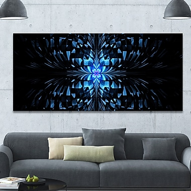 DesignArt 'Blue Butterfly Pattern on Black' Graphic Art on Wrapped Canvas; 28'' H x 60'' W x 1.5'' D
