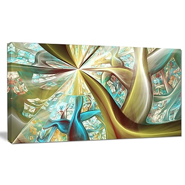 DesignArt 'Golden Fractal Exotic Plant Stems' Graphic Art on Wrapped Canvas; 20'' H x 40'' W x 1'' D