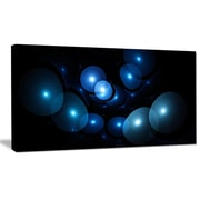 DesignArt 'Bright Blue 3D Surreal Circles' Graphic Art on Wrapped Canvas; 16'' H x 32'' W x 1'' D