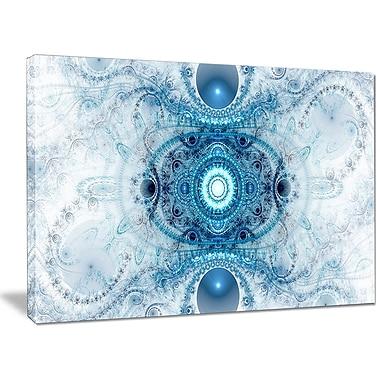 DesignArt 'Light Blue Fractal Pattern' Graphic Art on Wrapped Canvas; 30'' H x 40'' W x 1'' D