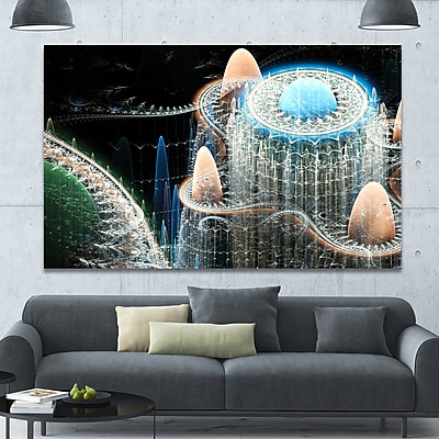 DesignArt 'Blue Fractal Infinite World' Graphic Art on Wrapped Canvas; 40'' H x 60'' W x 1.5'' D