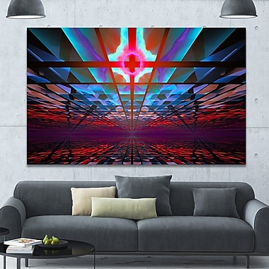 DesignArt 'Blue Cosmic Horizons Apocalypse' Graphic Art on Wrapped Canvas; 40'' H x 60'' W x 1.5'' D