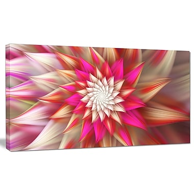 DesignArt 'Pink Exotic Fractal Flower' Graphic Art on Wrapped Canvas; 20'' H x 40'' W x 1'' D