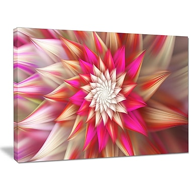 DesignArt 'Pink Exotic Fractal Flower' Graphic Art on Wrapped Canvas; 30'' H x 40'' W x 1'' D