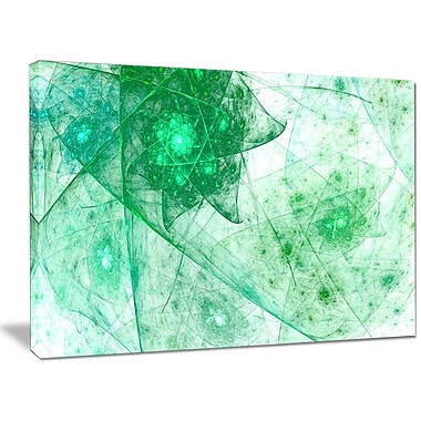 DesignArt 'Clear Green Rotating Polyhedron' Graphic Art on Wrapped Canvas; 30'' H x 40'' W x 1'' D