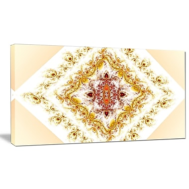 DesignArt 'Yellow Rhombus Fractal Design' Graphic Art on Wrapped Canvas; 12'' H x 20'' W x 1'' D