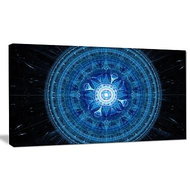 DesignArt 'Bright Blue Fractal Sphere' Graphic Art on Wrapped Canvas; 16'' H x 32'' W x 1'' D