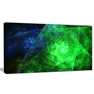 DesignArt 'Green Rotating Polyhedron' Graphic Art on Wrapped Canvas; 16'' H x 32'' W x 1'' D