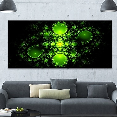 DesignArt 'Cabalistic Green Fractal Design' Graphic Art on Wrapped Canvas; 28'' H x 60'' W x 1.5'' D