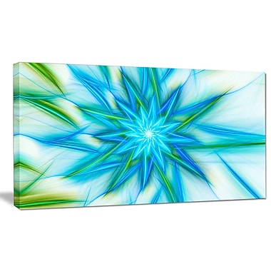 DesignArt 'Blue Fractal Shining Bright Star' Graphic Art on Wrapped Canvas; 12'' H x 20'' W x 1'' D