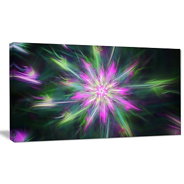 DesignArt 'Green Fractal Shining Bright Star' Graphic Art on Wrapped Canvas; 12'' H x 20'' W x 1'' D