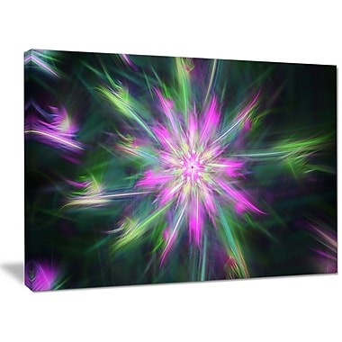 DesignArt 'Green Fractal Shining Bright Star' Graphic Art on Wrapped Canvas; 30'' H x 40'' W x 1'' D