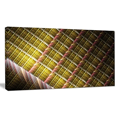 DesignArt 'Brown Metal Protective Grids' Graphic Art on Wrapped Canvas; 20'' H x 40'' W x 1'' D