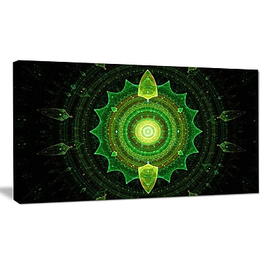 DesignArt 'Cabalistic Green Fractal Sphere' Graphic Art on Wrapped Canvas; 16'' H x 32'' W x 1'' D