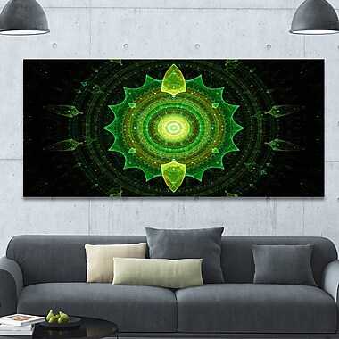 DesignArt 'Cabalistic Green Fractal Sphere' Graphic Art on Wrapped Canvas; 28'' H x 60'' W x 1.5'' D