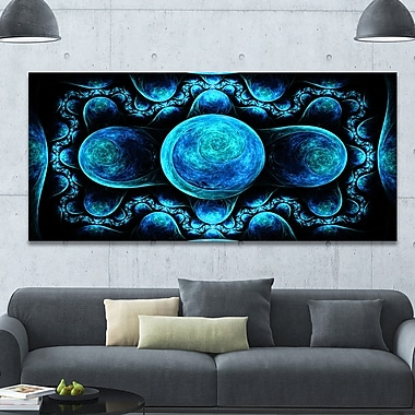DesignArt 'Blue Exotic Pattern on Black' Graphic Art on Wrapped Canvas; 28'' H x 60'' W x 1.5'' D