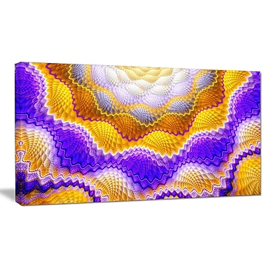 DesignArt 'Blue Yellow Snake Skin Flower' Graphic Art on Wrapped Canvas; 20'' H x 40'' W x 1'' D
