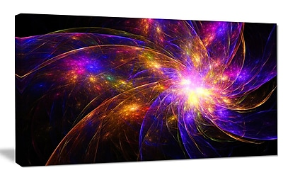 DesignArt 'Purple Fractal Star Pattern' Graphic Art on Wrapped Canvas; 40'' H x 60'' W x 1.5'' D