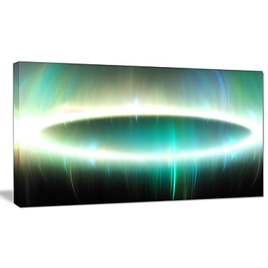 DesignArt 'Large Green Oval Fractal Light' Graphic Art on Wrapped Canvas; 20'' H x 40'' W x 1'' D