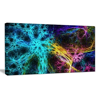 DesignArt 'Glowing Abstract Fireworks' Graphic Art on Wrapped Canvas; 20'' H x 40'' W x 1'' D