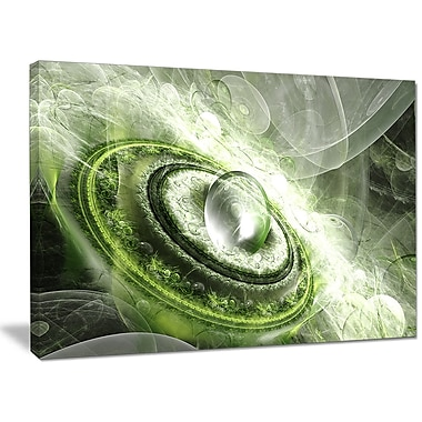 DesignArt 'Green Fractal Flying Saucer' Graphic Art on Wrapped Canvas; 30'' H x 40'' W x 1'' D