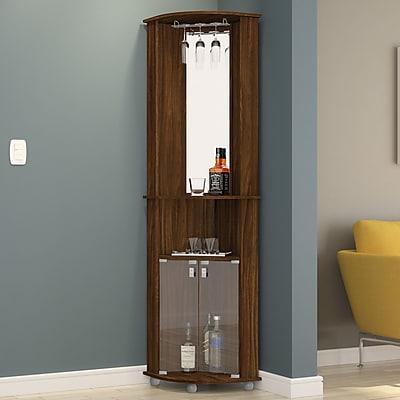 Boahaus Corner Bar Cabinet w/ Mirrored Wall