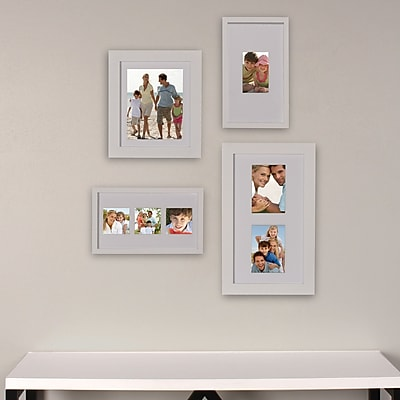 DSOV 4 Piece Gallery Flat Museum Matted Wood Picture Frame Set