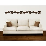 Enchantingly Elegant Paw Prints Dog Bones Border Vinyl Wall Decal; 5'' H x 114'' W